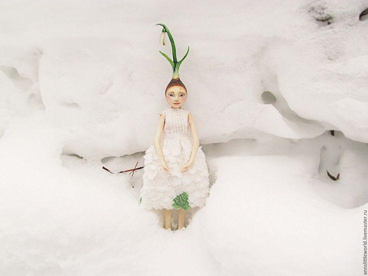 Купить Подснежник - белый, подснежник, весна, цветы, кукла ручной работы, кукла интерьерная