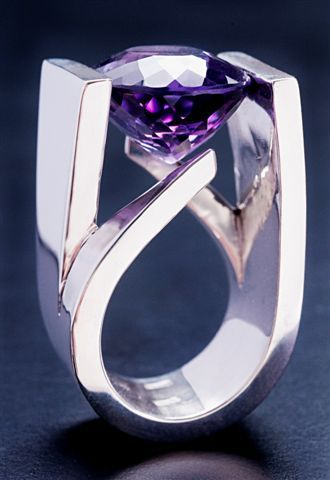 Amethyst and silver tension ring, by Tufi Patah, Cecilia Colman Gallery