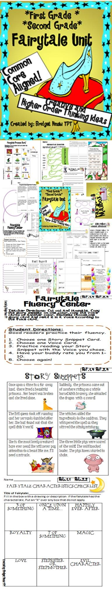 Fairytale Unit  aligned to common core for 2nd grade and 1st Graders! RL.1.1 RL.2.1 and more!