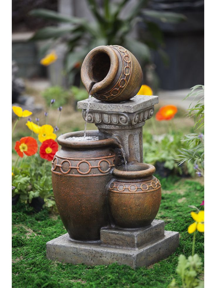 Classic 3 Pot And Column Water Fountain