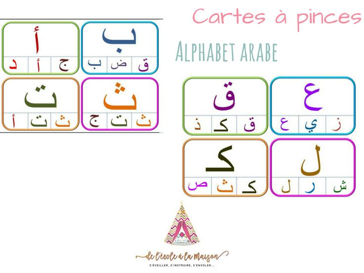 carte à pinces alphabet en arabe