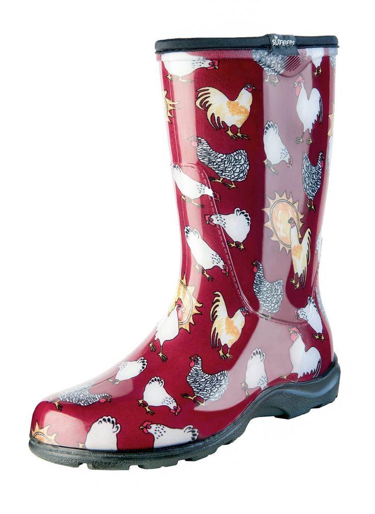 "Women's Rain & Garden Boot - Barn Red Chicken Print - Includes FREE ""Half-Sizer"" Insoles!"
