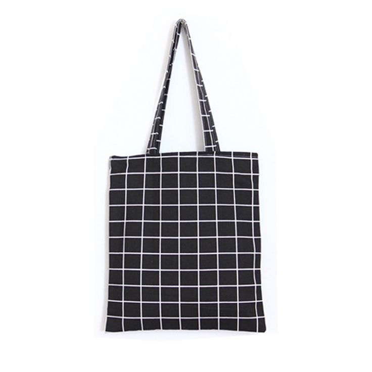 Fashion Female Canvas Beach Bag Plaid Casual Tote Women Canvas Handbag Daily Use Single Shoulder Shopping Bags