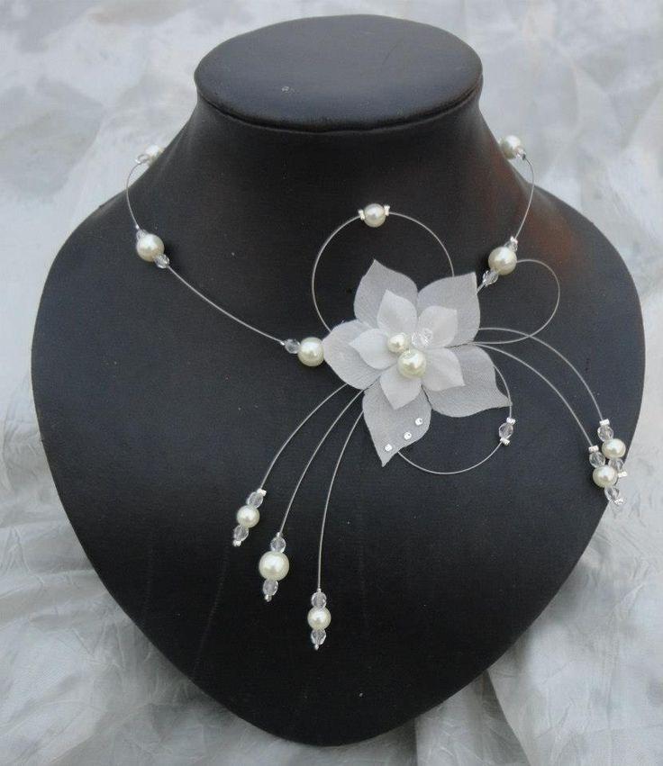 Collier mariée perles ivoire fleur de soie soirée mariage