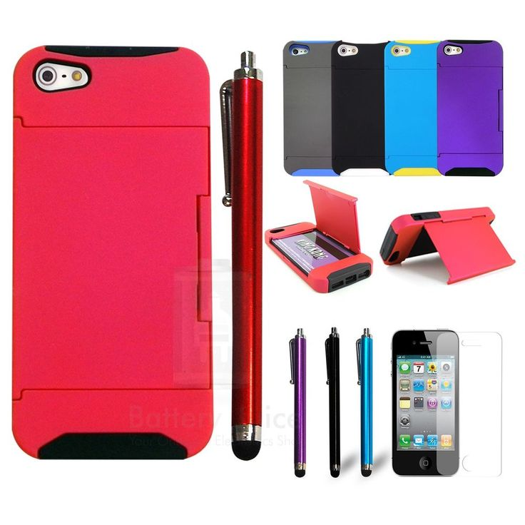 Hybrid Wallet Kickstand Cash Case+Stylus Pen Screen Protector For iPhone 5 5G 5S