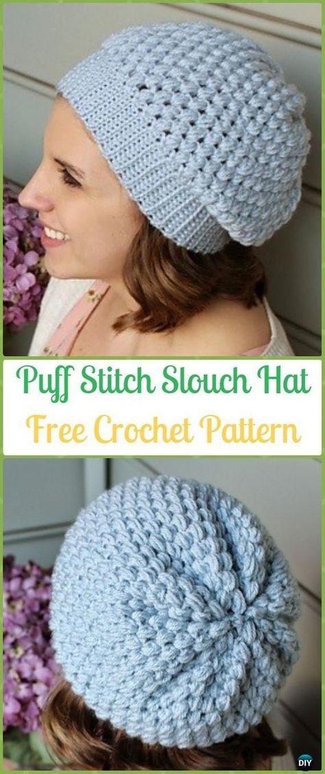 0d7e2a45737 Crochet Puff Stitch Slouchy Beanie Hat Free Pattern -Crochet Slouchy Beanie  Hat Free Patterns