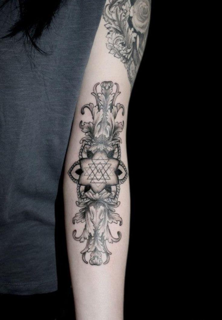 Geometric floral arm forearm tattoos tattoo art for Tattoos in arm