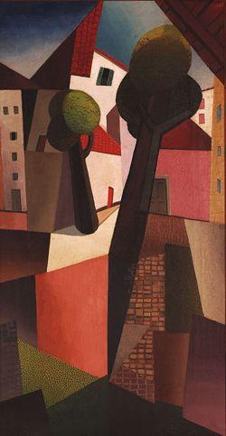 Emilio Pettoruti, Calle de Milán (1919), óleo sobre tela.