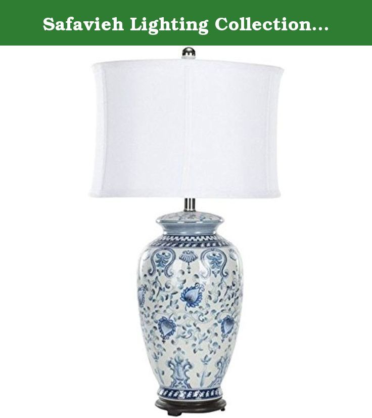 "Safavieh Lighting Collection Paige Blue And White Jar 29-inch Table Lamp. A classic Chinese jar lamp with blue flowers and Asian symbols blooming across its glazed white ceramic base, the Safavieh Lighting Collection Paige Blue and White Jar Table Lamp features a ribbed white linen shade and black finial and stand. Assembly required, this lamp measures 14"" x 14"" x 29""."