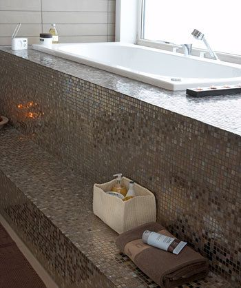 Wow blijft mooi voor de badkamer, mozaïek tegels!