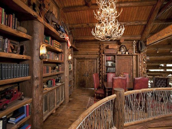 Log Home Library Libraries Rocky Mountain Dreams House