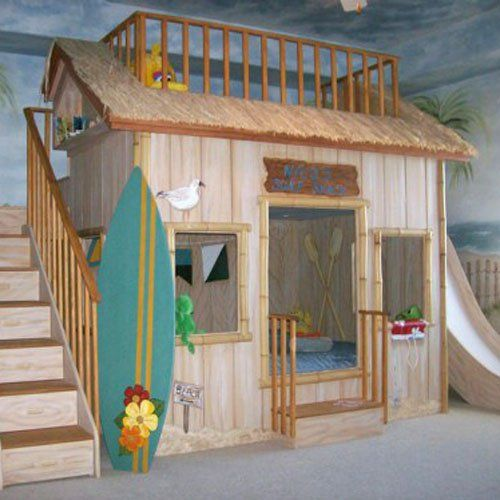 obviously not surf shop themed, but this general idea of a playhouse with stairs to loft and slide on the other side! Maybe the playhouse can be a farm stand/market?
