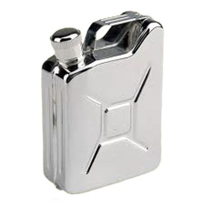 Stainless steel gas can shaped flask fits easily into your pocket. Take it with you on your camping or fishing trip, it will take the 'nip' out of the air. Can be filled with 5oz(150ml) of the 'fuel' of your choice Designed by AceCamp in Germany Size: 10 x 7 x 3cm