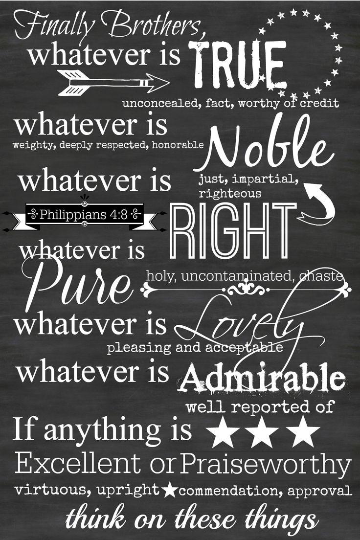 Philippians 4 8 printable chalkboard art