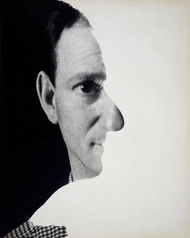 Self-portrait (New York) (1945) by German fashion photographer & Dada artist Erwin Blumenfeld (1897-1969). via NYT