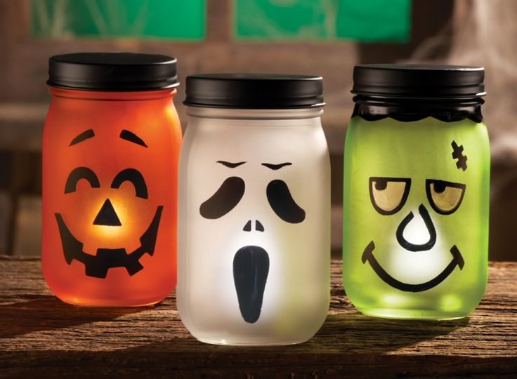 Jack O Lantern Halloween LED Lighted Jars (to buy) BUT its an easy idea to make your own!!