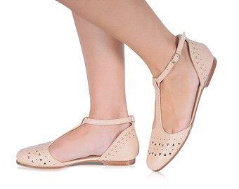 Rose Leather Ballerina Shoes Leather flats Flat Shoes by BangiShop