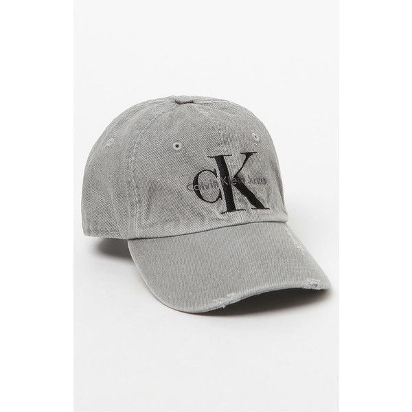 Calvin Klein For PacSun Washed Denim Baseball Cap ($39) ❤ liked on Polyvore featuring accessories, hats, grey hat, baseball cap, baseball caps hats, ball cap and denim baseball hat
