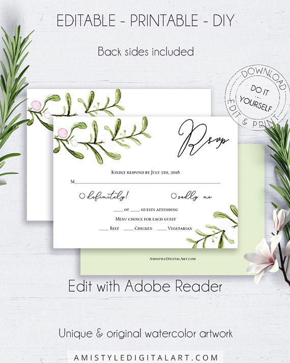 Rustic DIY Response Card, with nice watercolor mistletoe graphics in watercolor in minimalist rustic style.This wedding RSVP card template is an instant download EDITABLE PDF pack so you can download it right away, DIY edit and print it at home or at your local copy shop by Amistyle Digital Art on Etsy