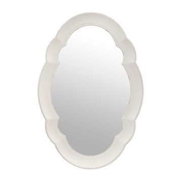 Scalloped White Oval Mirror