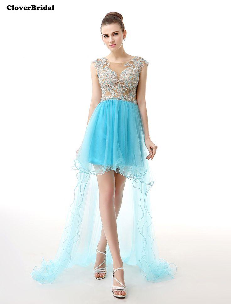 >> Click to Buy << CloverBridal 2017 beaded appliques net blue high-low graduation dresses for 8th grade vestidos de debutante 15 anos curtos #Affiliate