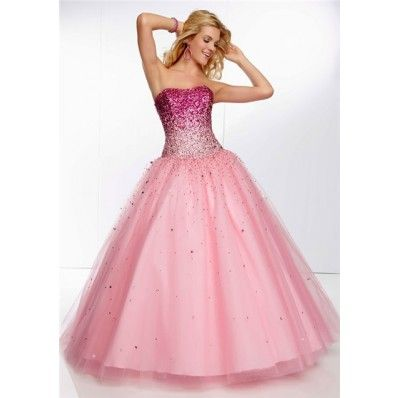 Princess Ball Gown Strapless Long Pink Tulle Ombre Beaded Prom Dress Corset Back http://www.sofiehouse.com/princess-ball-gown-strapless-long-pink-tulle-ombre-beaded-prom-dress-corset-back.html