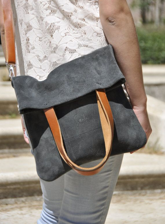 Leather bag in grey - leather tote bag - adjustable brown leather strap - MERY model
