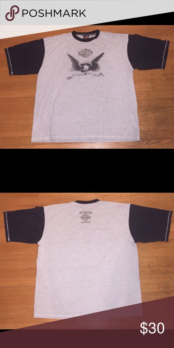 """Harley Davidson 2X Two Tone Dallas Dealer T-Shirt Up for sale is this Harley Davidson 2 tonedealert-shirt. It is from the Dallas Texas Harley Davidson.  It has a nice eagle graphic on thefront of the shirt. It is a 2X andmeasures about 28"""" armpit to armpit, and 32"""" from top to bottom. In excellent condition. Please take note of this when purchasing. Harley-Davidson Shirts Tees - Short Sleeve"""