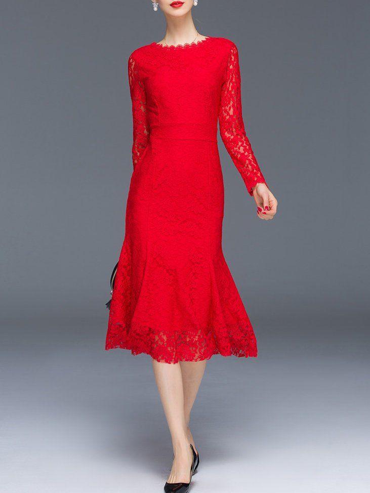 405f6c77e69 Elegant Mermaid Long Sleeve Midi Dress - StyleWe.com