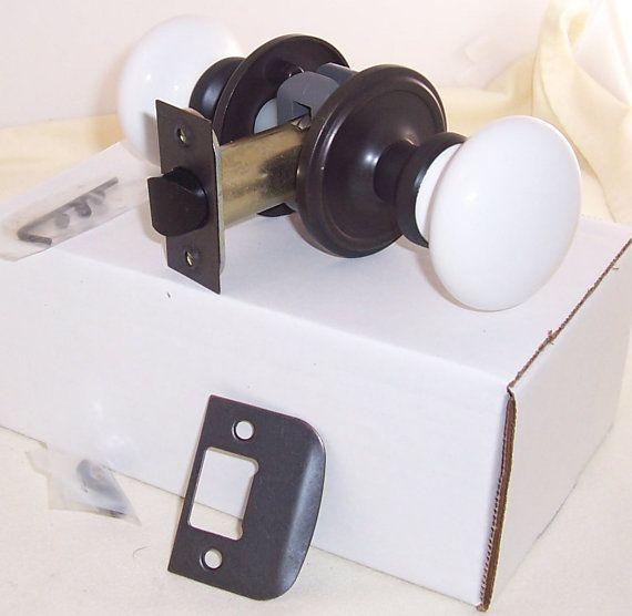porcelain passage door knob and white 2