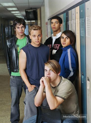 """""""Degrassi: The Next Generation"""" the boys of Degrassi TNG when I was watching it. Craig, Sean, Jimmy, Marco, and Spinner. Spinner changed his hair like every few episodes."""