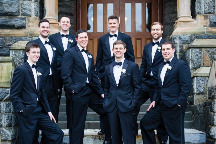 black tie wedding suits, groom tuxedo wedding attire, groomsmen bow ties  from DC winter wedding at the Fairmont hotel by Greg Gibson Photography