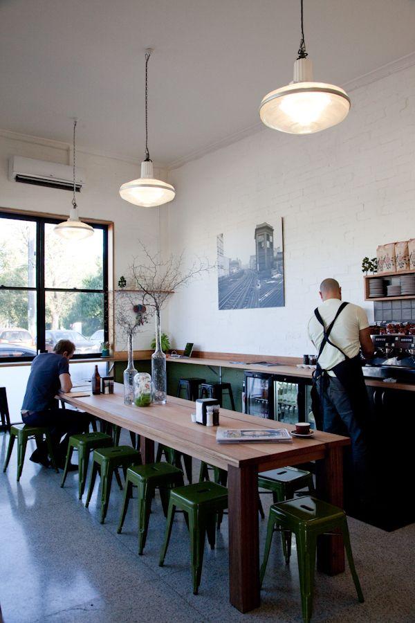 Melbourne cafe, green stools...