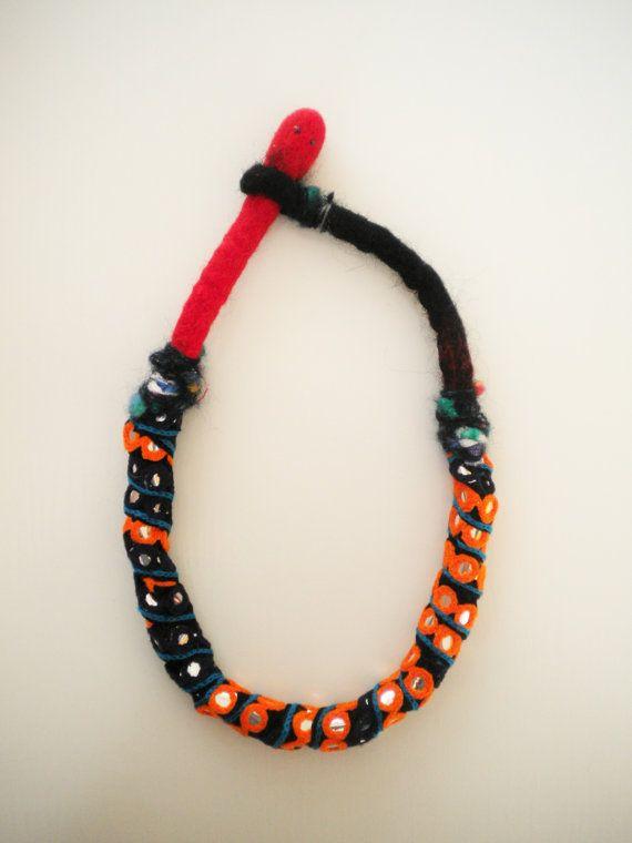 Felt ethnic textile necklace by Jiakuma on Etsy