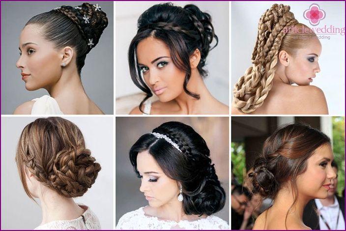 Svadobné účesy s vrkôčiky - možnosti pre vlasy rôznych dĺžok, príklady foto