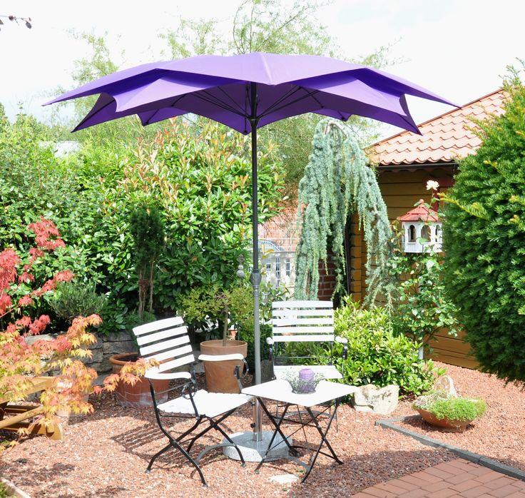 Design parasol paars, verrassend ontwerp met moderne vernieuwende uitstraling, deze leco parasol koop je bij Tuinmeubelen.nl