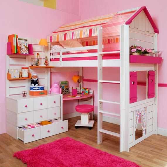 Dylan already has a loft bed! I could totally turn it into something like this!! Can't wait to try :)