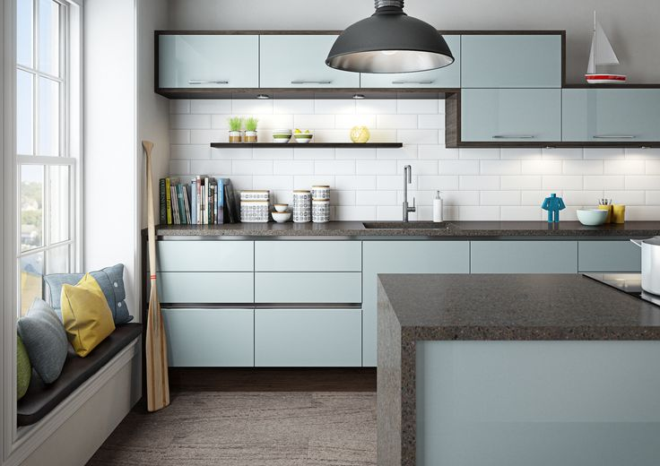 Integra Astral Blue fitted kitchen by Magnet #bluekitchen