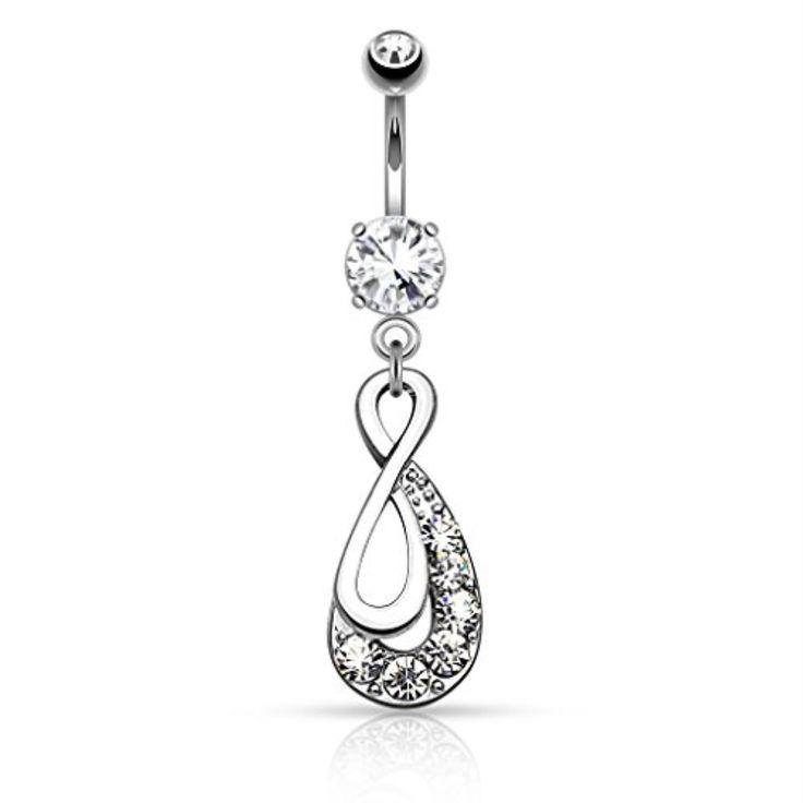 Kristallklare Jeweled Infinity Drop Bauchnabel Ring   – Body jewelry