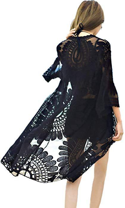 5b8dac9646c10 shermie Women's Floral Crochet Lace Beach Swimsuit Cover Ups Plus Size Long  Kimono Cardigan Black at