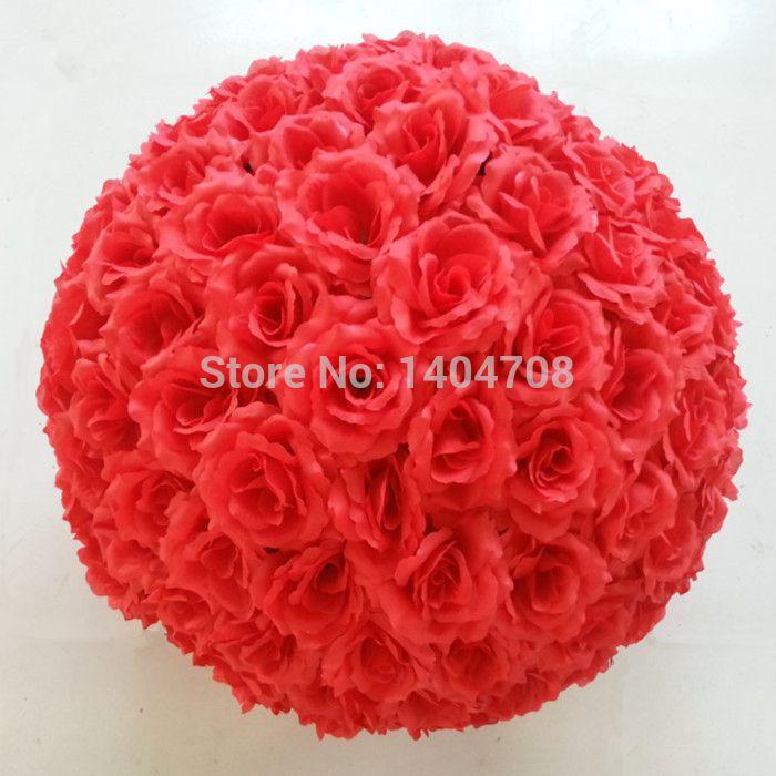 de soie rose artificielle fleurs pot-pourri baisers épousant balles partie home 25cm rouge couleur décoration(China (Mainland))