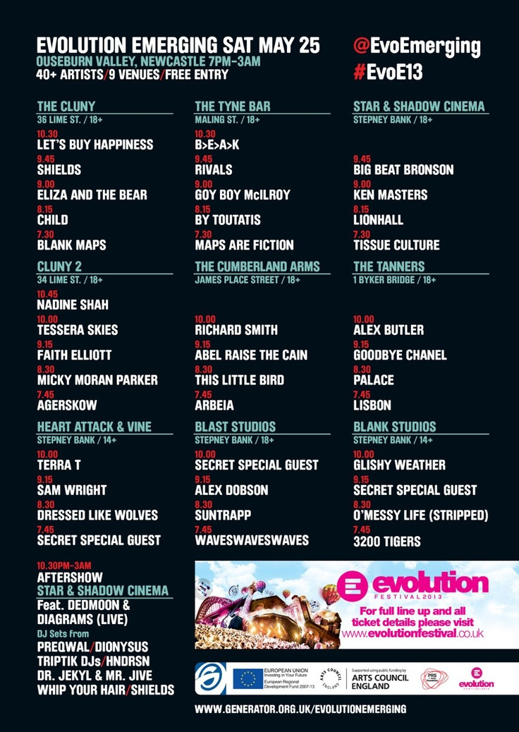Less than a week to go till Generator™ Presents.. EVOLUTION EMERGING 2013 now. 40 artists, 9 venues in one night of glorious (free) music.   Prepare for your night by using our Interactive Clash Checker to listen to tracks from all on the bill and make sure YOU don't miss your new favourite band.