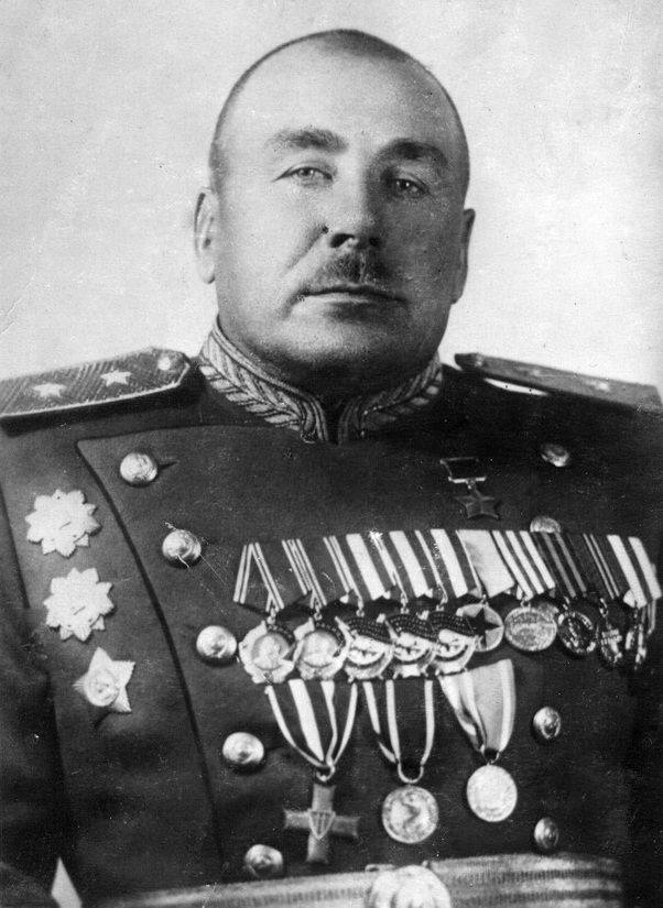 Lieutenant-General Volkov Fyodor Andreyevich (1898-1954), Soviet military leader, a participant in the WWI, the Civil and the Great Patriotic (WWII in Russia) wars, the Hero of the Soviet Union. He commanded of the 145th Rifle Division (1942-1943), the 91st Rifle Corps (1943-1945, the Vistula-Oder and the Berlin offensive operations).