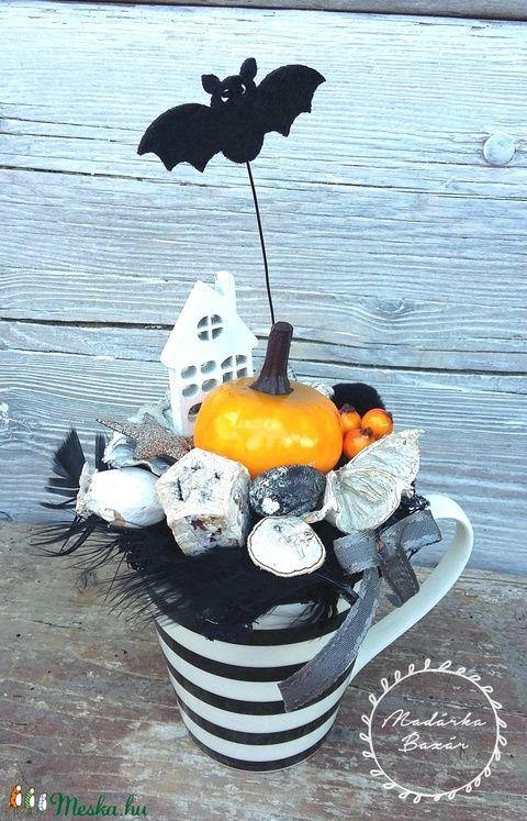 Halloween asztaldísz bögrében (madarkamuhely) - Meska.hu
