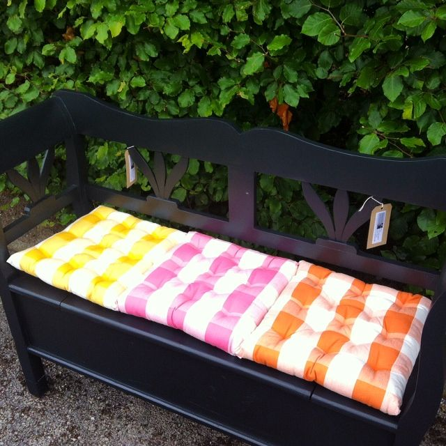 Gingham seat pads in yellow, pink, orange and white checks