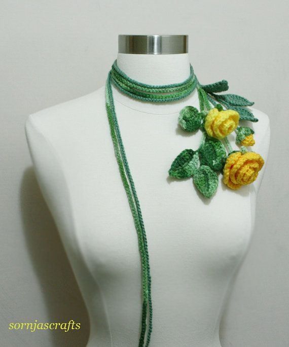 Unique Crochet  MultiColor Rose  Bouquet Lariat/ by SornjasCrafts, $28.00