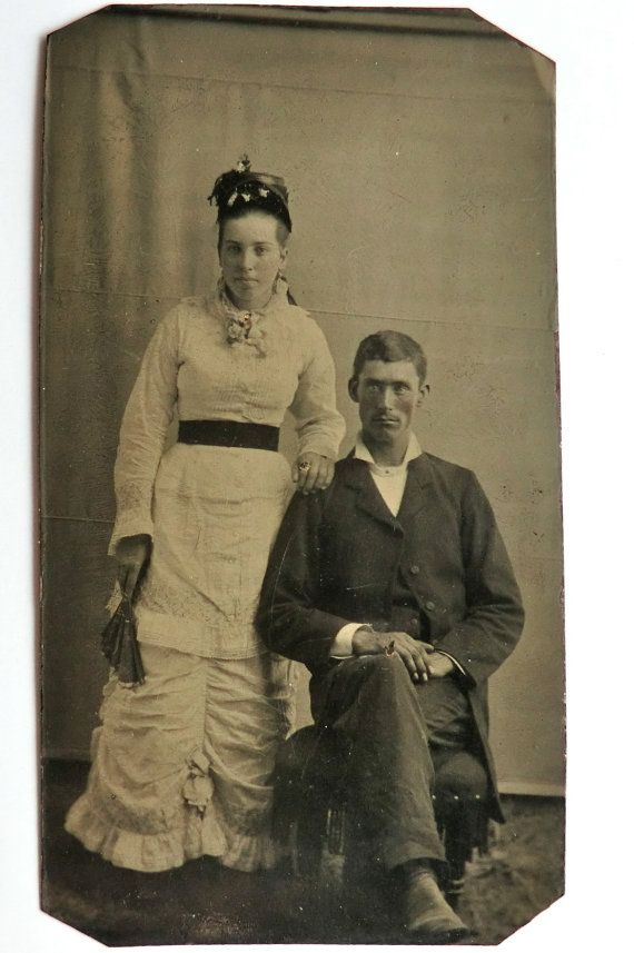 Tintype Photo Younger Couple Woman Holding Fan Wearing