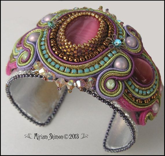 ~~Soutache bracelet in pink, turquoise, green and gold on metal cuff by Miriam Shimon~~
