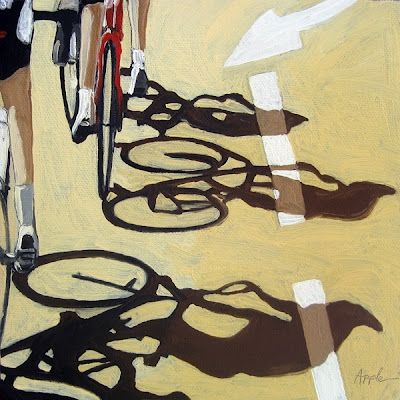 bicycle art oil painting - The Race 2, painting by artist Linda Apple