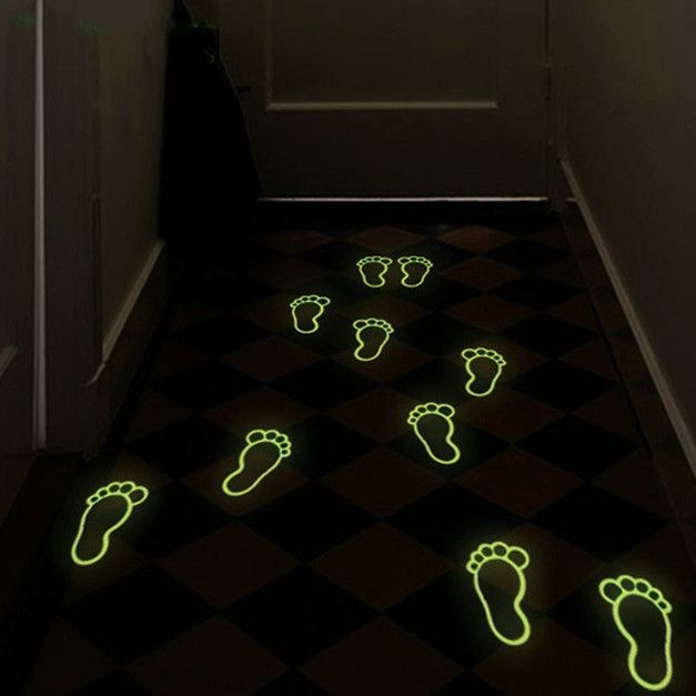 4 Pcs Luminous Footprint Footed Stickers Floor Feet Decal Home Kid Room Decor Directions